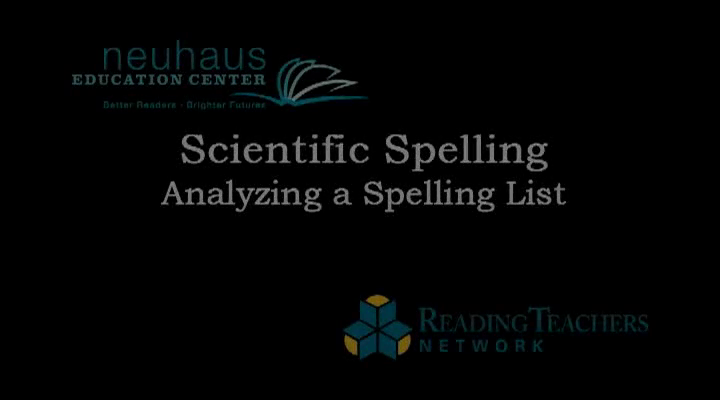 Analyzing a Spelling List - Ecology