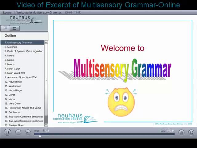 Multisensory Grammar Excerpt