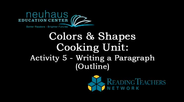 Oral Language - Colors and Shapes, Cooking Unit, Activity 5 - Writing a Paragraph Outline