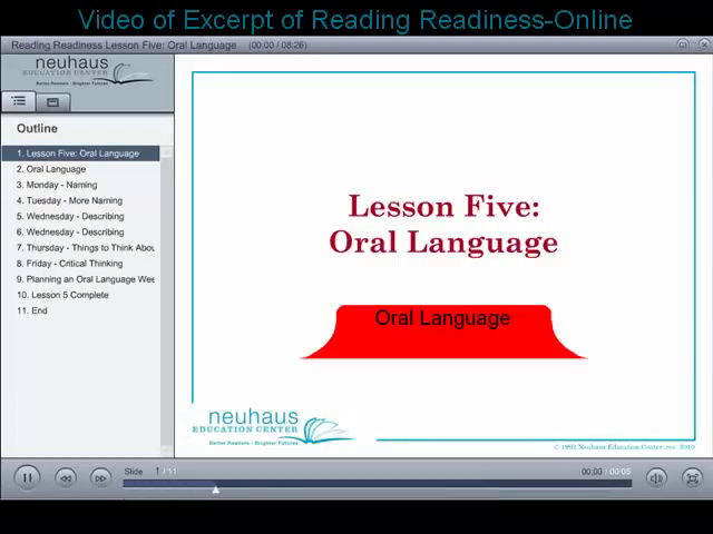 Oral Language - Excerpt from Reading Readiness