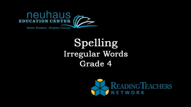 Spelling - Irregular Words - Grade 4