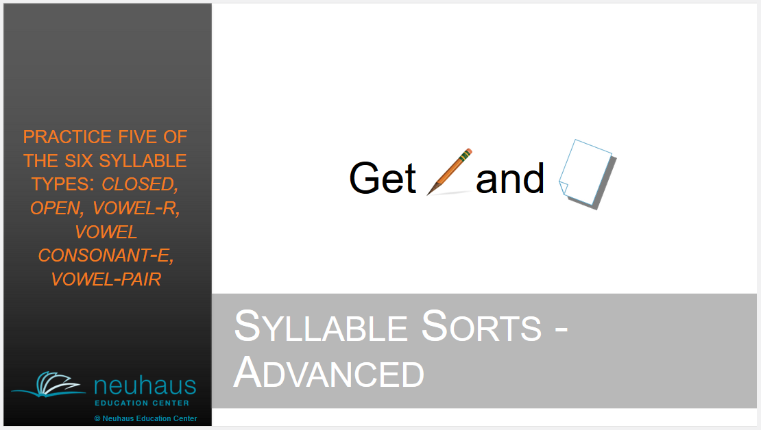 Syllable Sort: 5 Syllable Types