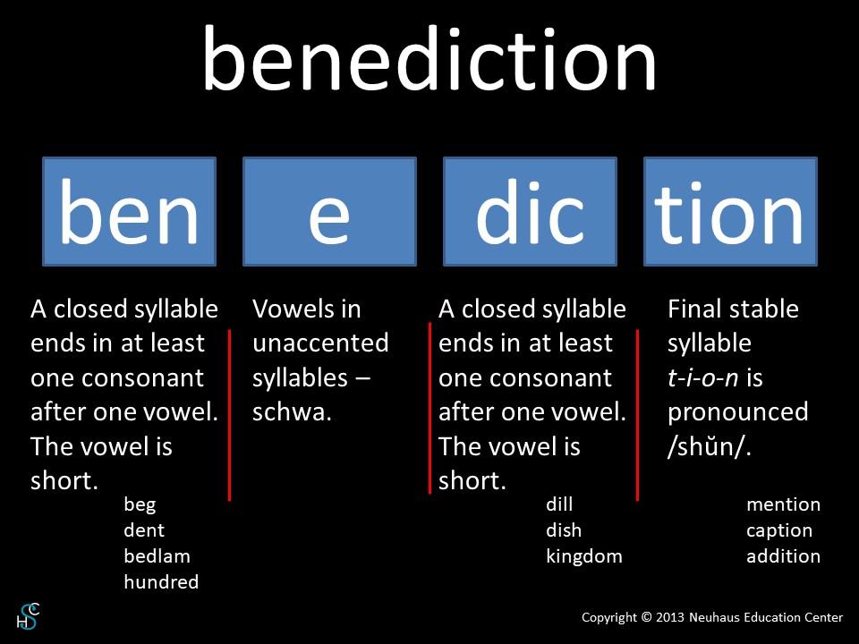 benediction - pronunciation