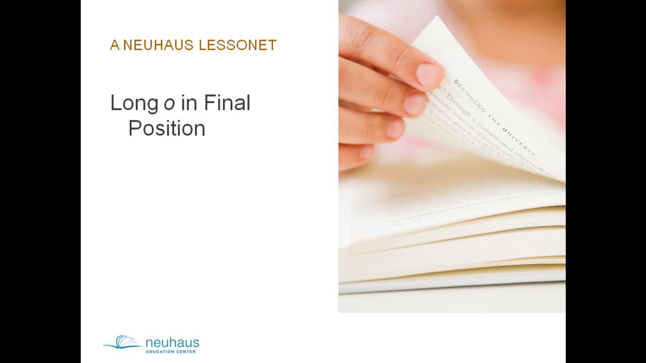 Long O in Final Position