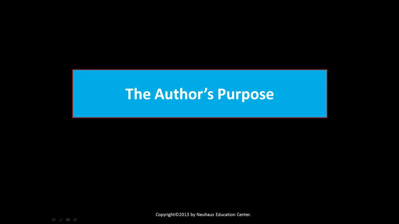 The Authors Purpose